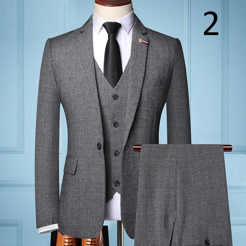 Pánský oblek vesta sako a kalhoty šedé barvy Barva: Šedá, Velikost: XS