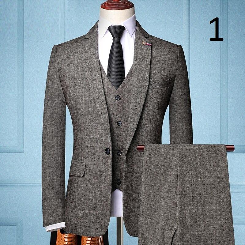 Pánský oblek vesta sako a kalhoty šedé barvy Barva: Hnědá, Velikost: XS