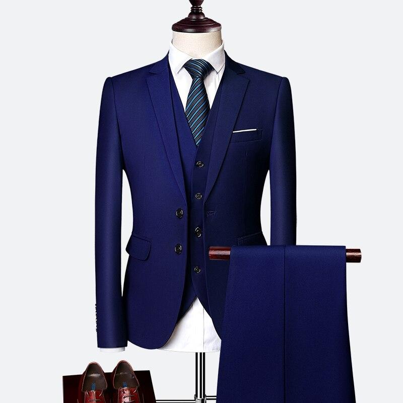 Pánský klasický oblek do práce kvalitní pánský set sako, vesta a kalhoty Barva: Tmavě Modrá, Velikos