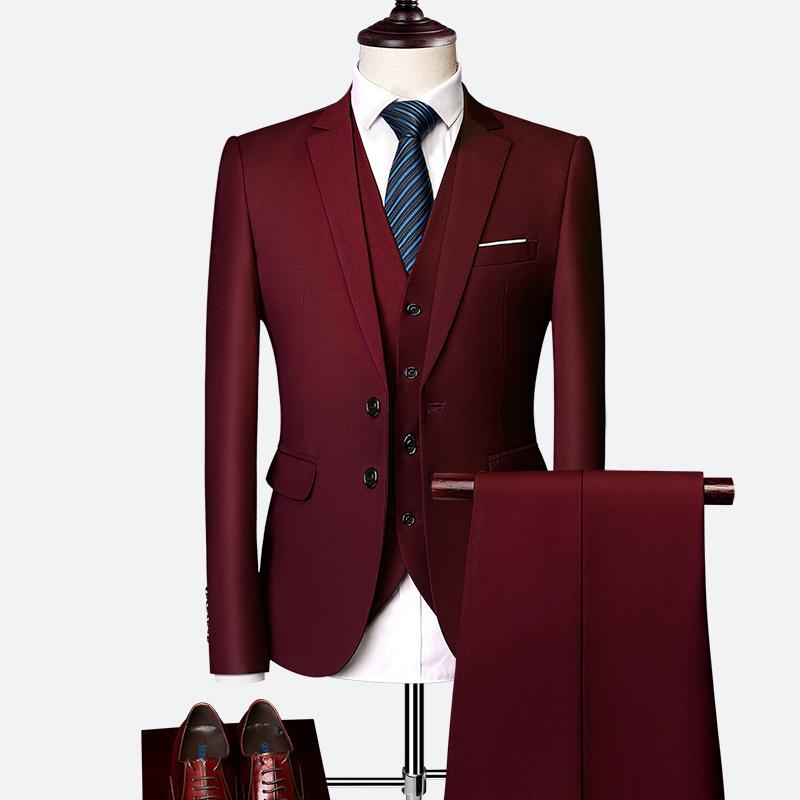Pánský klasický oblek do práce kvalitní pánský set sako, vesta a kalhoty Barva: Bordová, Velikost: L