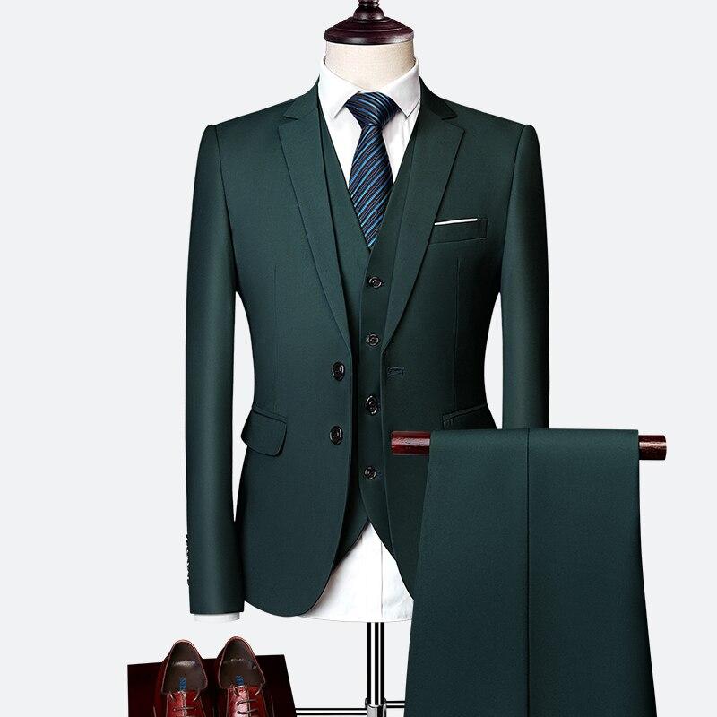 Pánský klasický oblek do práce kvalitní pánský set sako, vesta a kalhoty Barva: Zelená, Velikost: L,