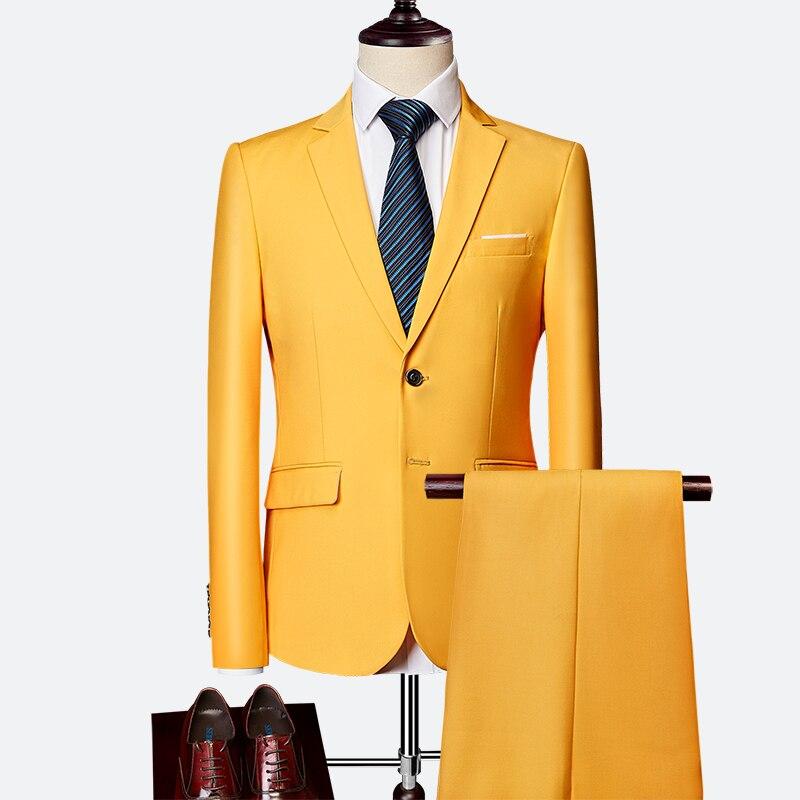 Pánský klasický oblek do práce kvalitní pánský set sako, vesta a kalhoty Barva: Žlutá, Velikost: M,