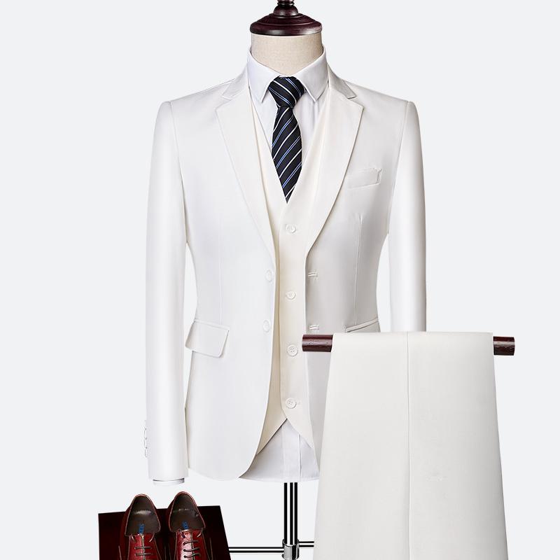 Pánský klasický oblek do práce kvalitní pánský set sako, vesta a kalhoty Barva: Bílá, Velikost: XS,