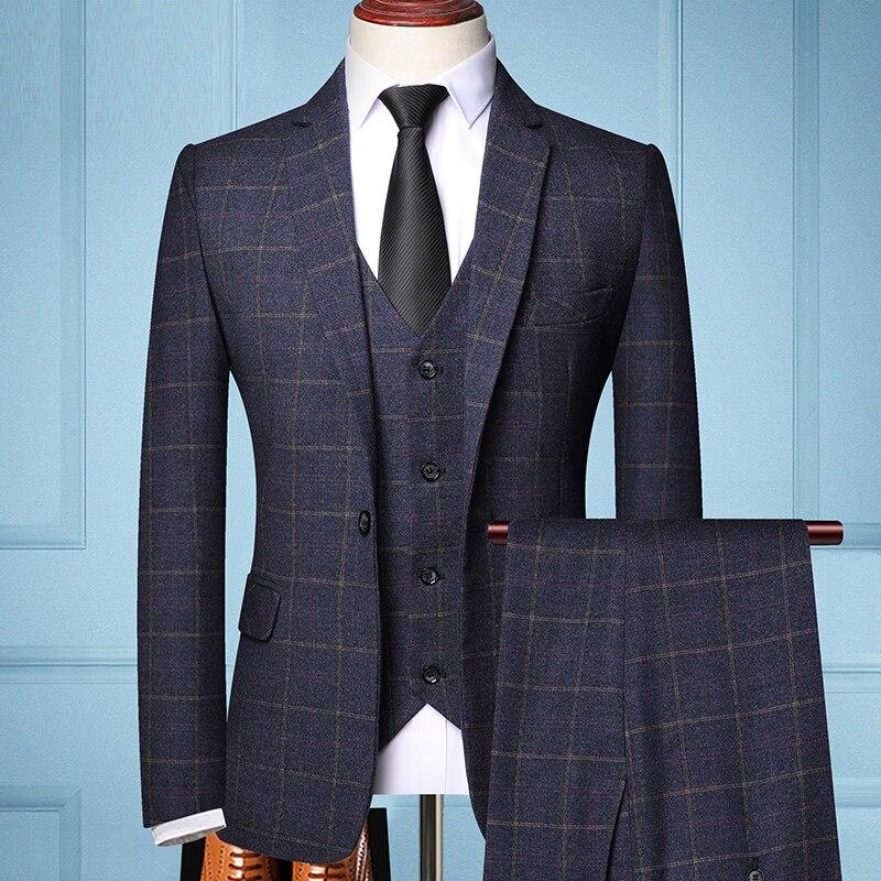 Kostkovaný oblek pro pany na každý den Barva: Tmavě Modrá, Velikost: XL, Varianta: S vestou