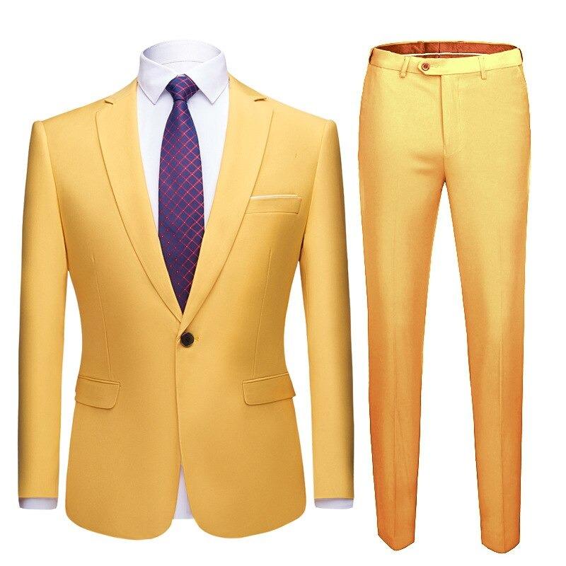 Pánský dvoudílný oblek společenský oblek na svatbu sako a kalhoty Barva: Žlutá, Velikost: M