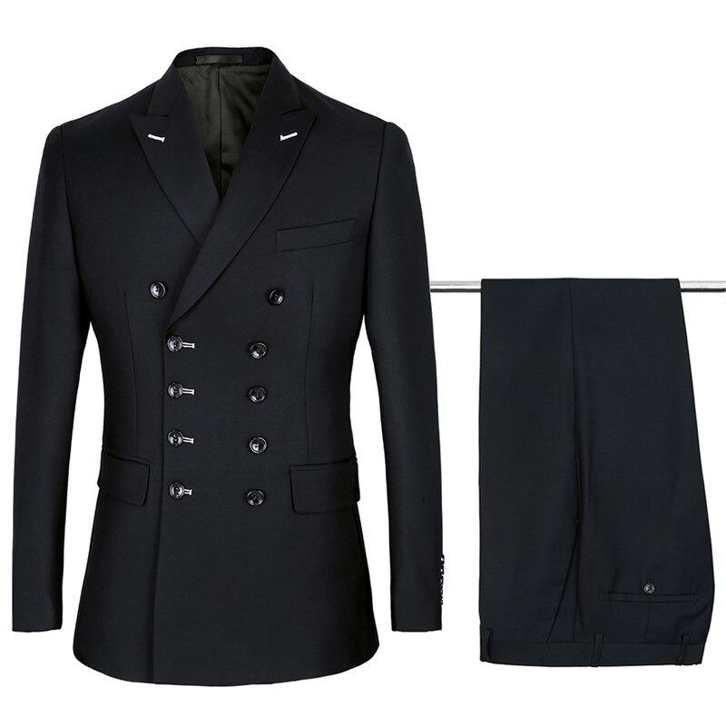 Společenský oblek dvoudílný originální sako s knoflíky + kalhoty Barva: Černá, Velikost: S