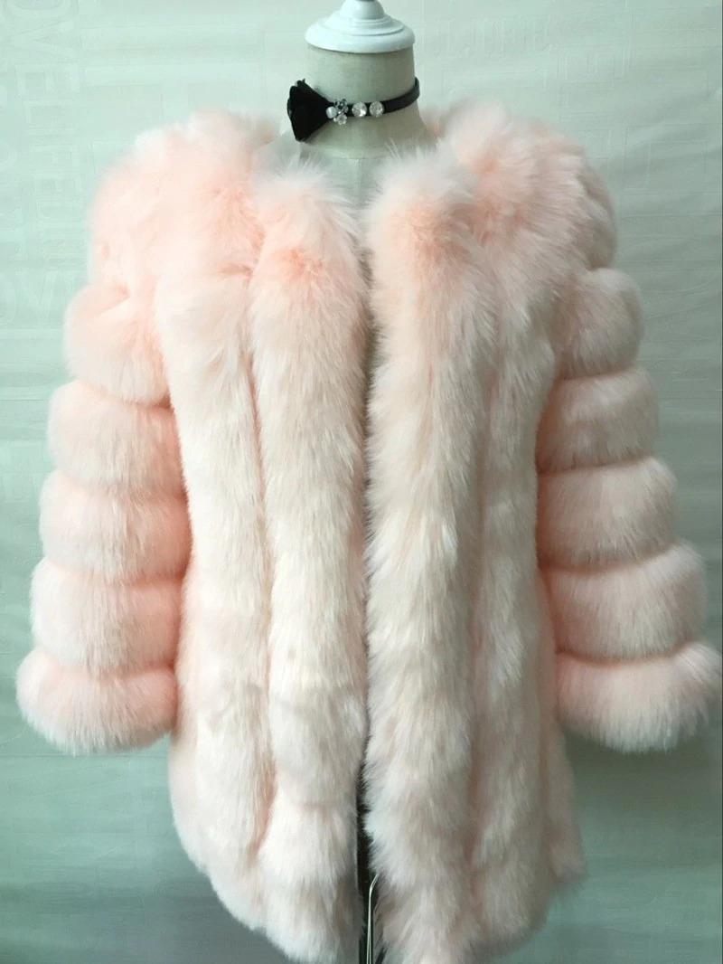 Kožešinový kabátek umělá kožešina bunda kožich s dlouhým rukávem Barva: Světle Růžová, Velikost: XS
