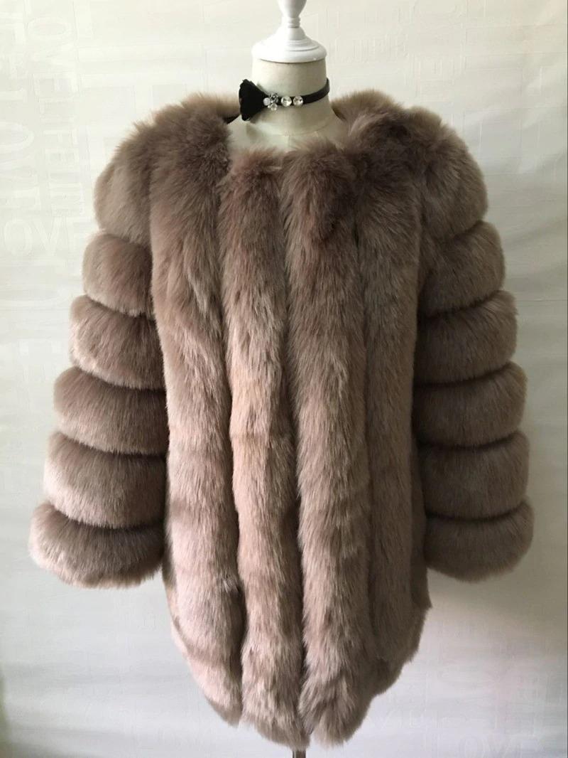 Kožešinový kabátek umělá kožešina bunda kožich s dlouhým rukávem Barva: Hnědá, Velikost: XS