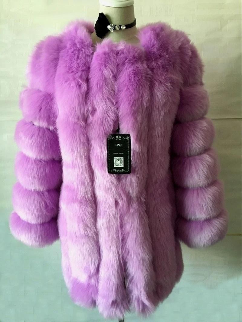Kožešinový kabátek umělá kožešina bunda kožich s dlouhým rukávem Barva: Fialová, Velikost: XS