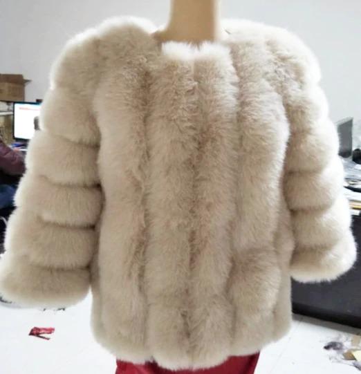 Kožešinový kabátek umělá kožešina bunda kožich s dlouhým rukávem Barva: Béžová, Velikost: XS