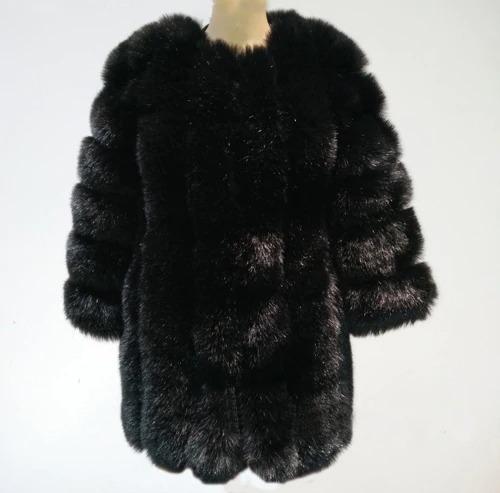 Kožešinový kabátek umělá kožešina bunda kožich s dlouhým rukávem Barva: Černá, Velikost: XS