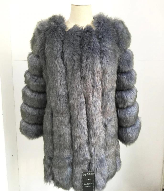 Kožešinový kabátek umělá kožešina bunda kožich s dlouhým rukávem Barva: Šedá, Velikost: XS