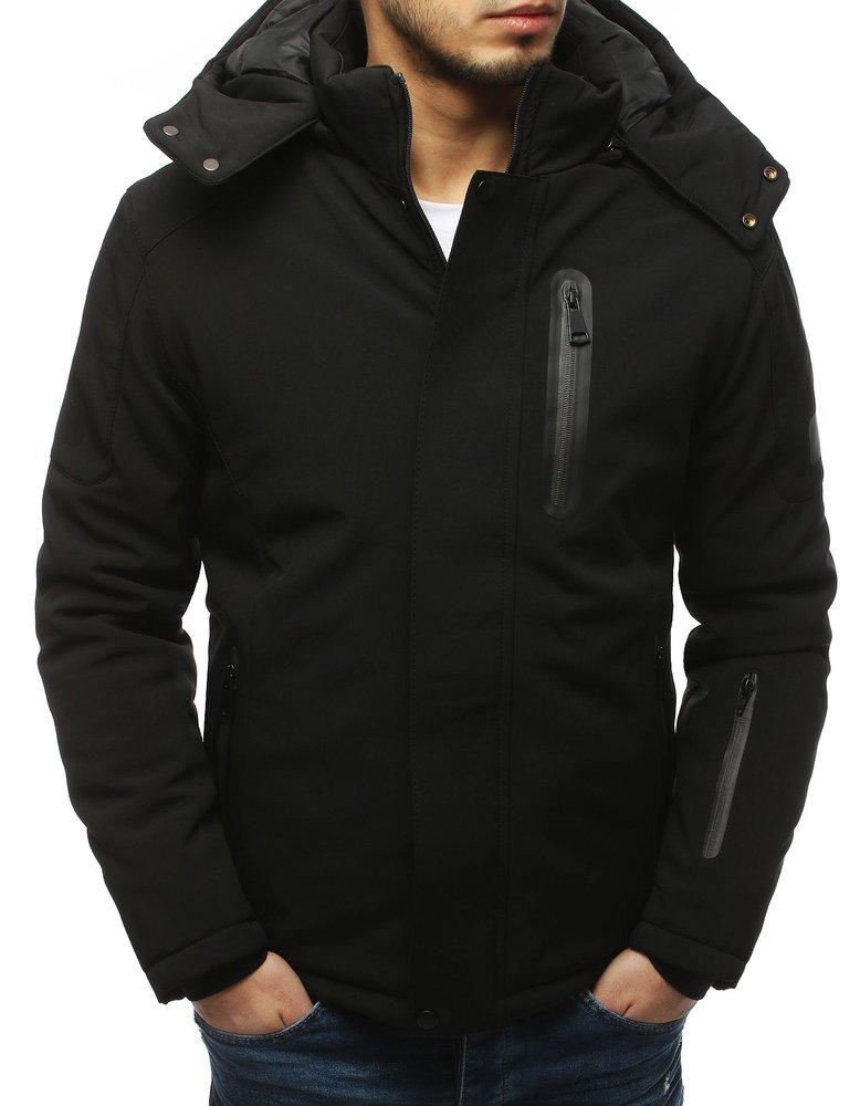 Pánská zimní softshellová bunda s kapucí a kapsami - VEL. M Barva: Černá, Velikost: M
