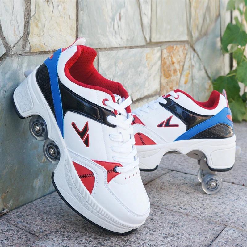 Stylové tenisky unisex barevné boty na kolečkách nejen pro děti Barva: Modrá, Velikost: 34