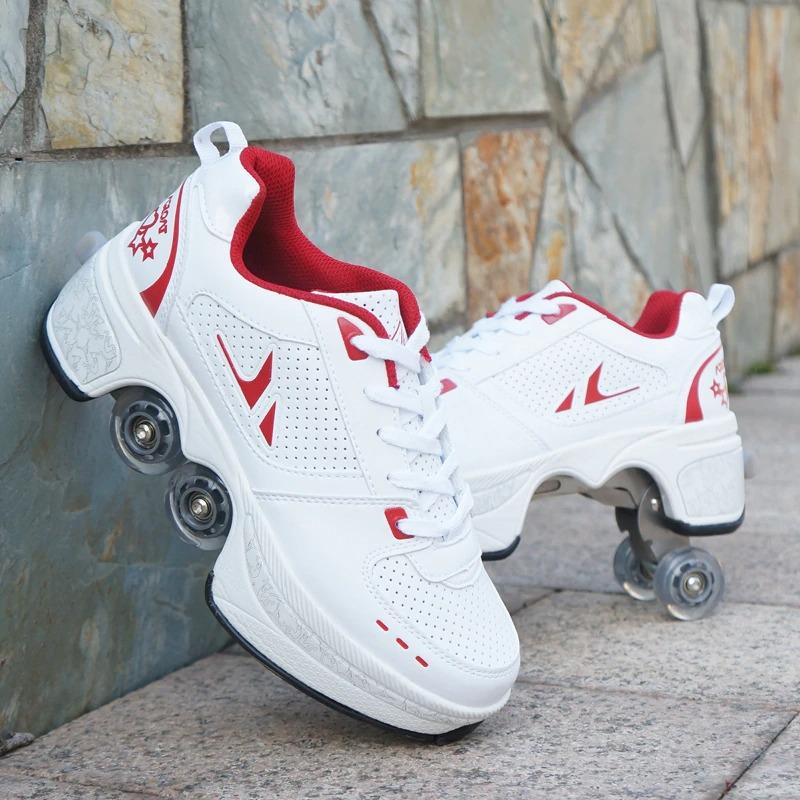 Stylové tenisky unisex barevné boty na kolečkách nejen pro děti Barva: Červená, Velikost: 34