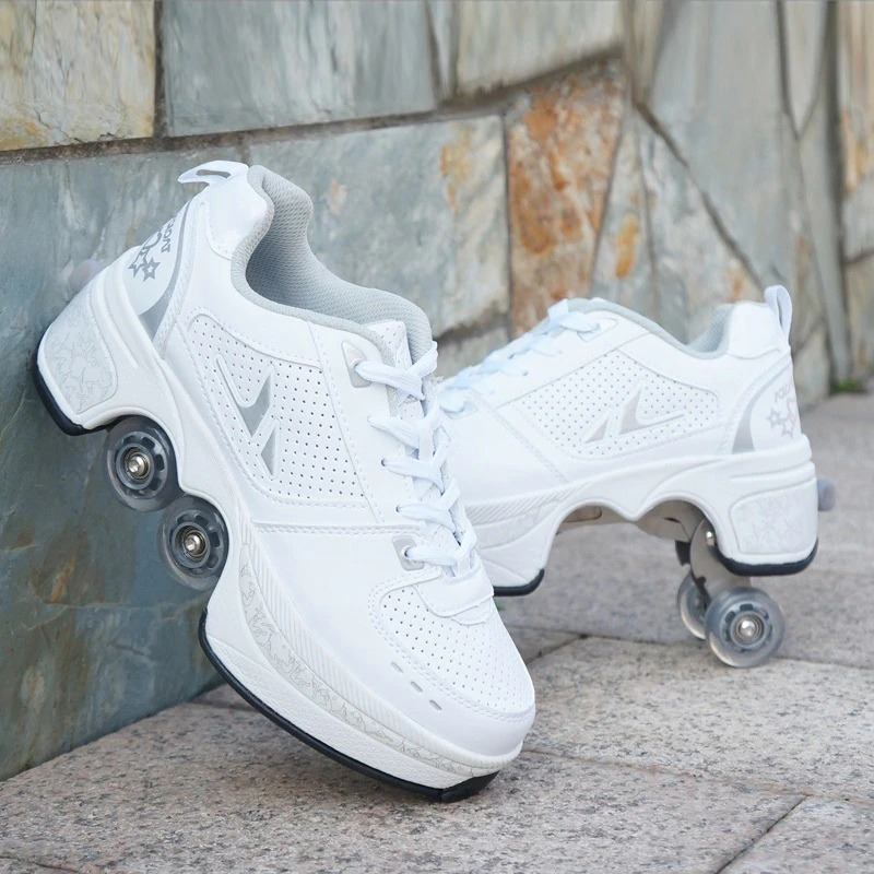 Stylové tenisky unisex barevné boty na kolečkách nejen pro děti Barva: Bílá, Velikost: 34