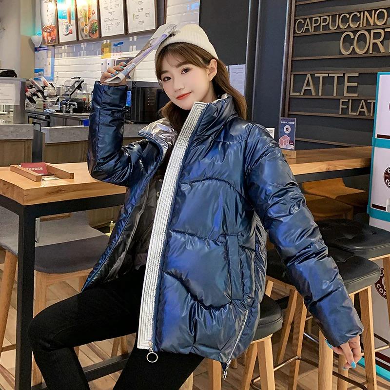 Dámská lesklá bunda s podšívkou prošívaná zimní bunda na zip Barva: Modrá, Velikost: XS