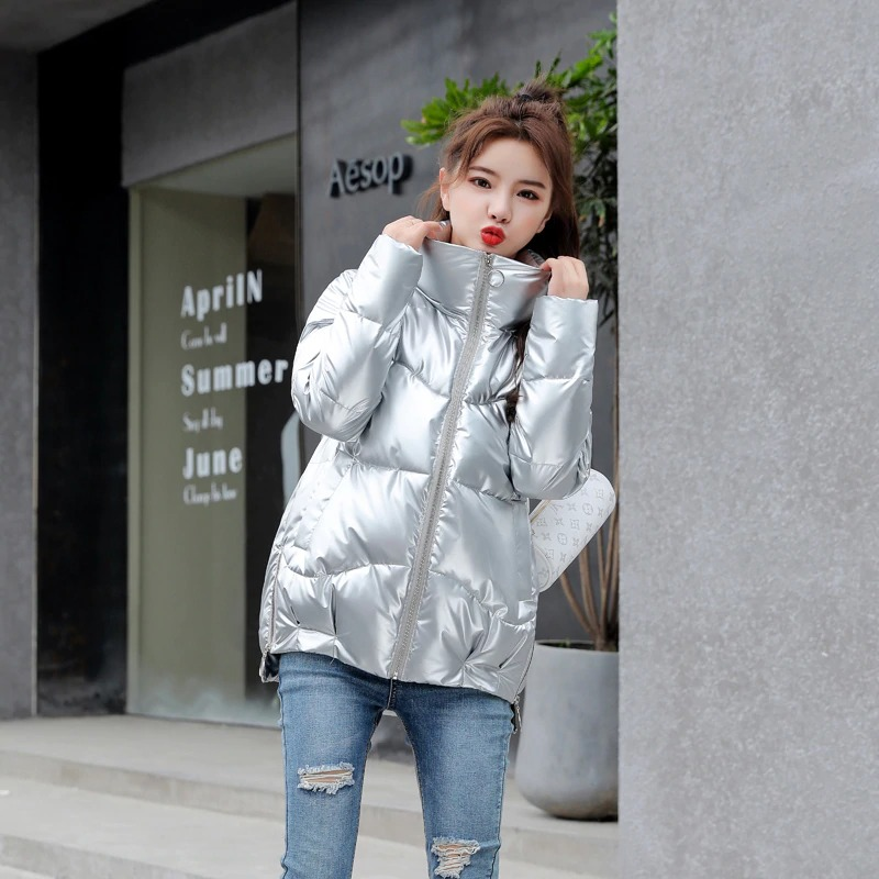Dámská lesklá bunda s podšívkou prošívaná zimní bunda na zip Barva: Stříbrná, Velikost: S