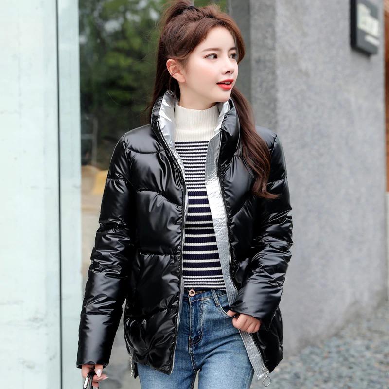Dámská lesklá bunda s podšívkou prošívaná zimní bunda na zip Barva: Černá, Velikost: XS