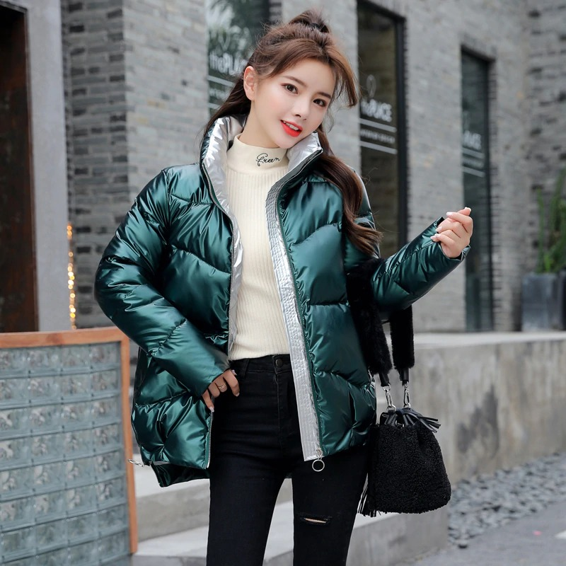 Dámská lesklá bunda s podšívkou prošívaná zimní bunda na zip Barva: Zelená, Velikost: XS