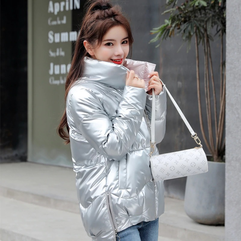 Dámská lesklá bunda s podšívkou prošívaná zimní bunda na zip Barva: Stříbrná, Velikost: XS