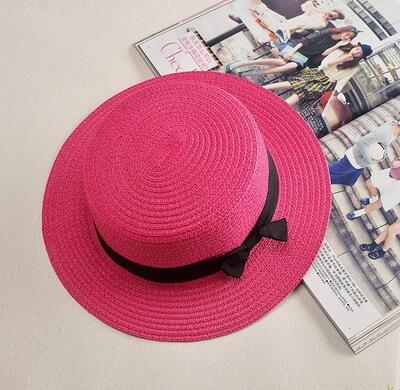 Dámský slaměný klobouk zdobený páskem s mašli Barva: Růžová, Velikost: S