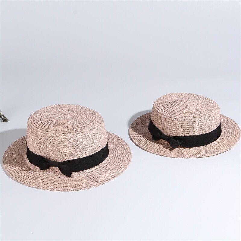Dámský slaměný klobouk zdobený páskem s mašli Barva: Světle Růžová, Velikost: S