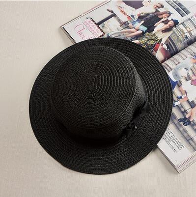 Dámský slaměný klobouk zdobený páskem s mašli Barva: Černá, Velikost: S