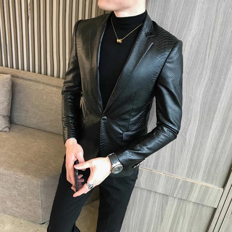 Pánské kožené sako matná nebo hadí vzorovaná kůže Barva: Černá, Velikost: M, Varianta: Vzorovaná kůž