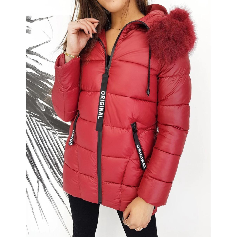 Dámský prošívaný kabát bordo zimní bunda s kožíškem Barva: Vínová, Velikost: XL