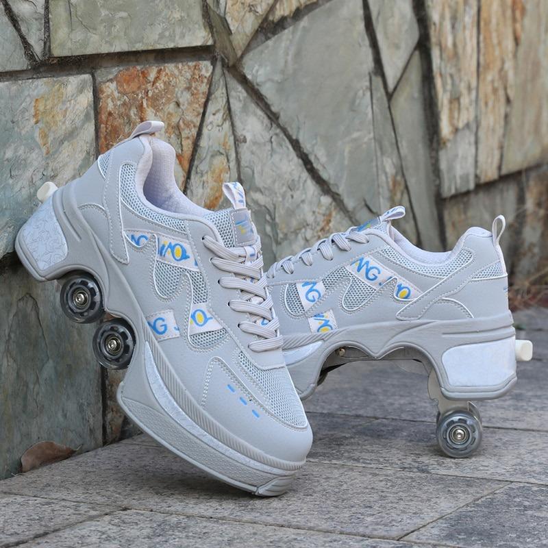 Kolečkové tenisky unisex barevné boty na kolečkách nejen pro děti Barva: Šedá, Velikost: 35