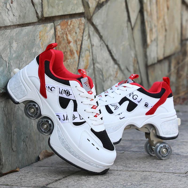 Kolečkové tenisky unisex barevné boty na kolečkách nejen pro děti Barva: Červená, Velikost: 35