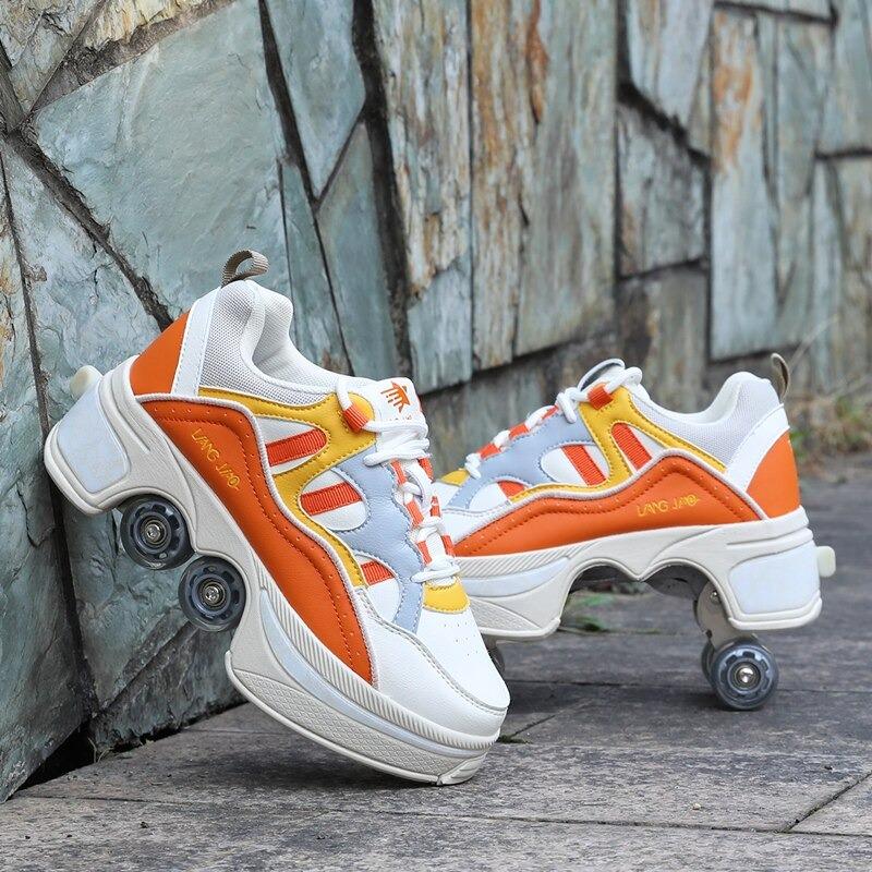 Kolečkové tenisky unisex barevné boty na kolečkách nejen pro děti Barva: Oranžová, Velikost: 35