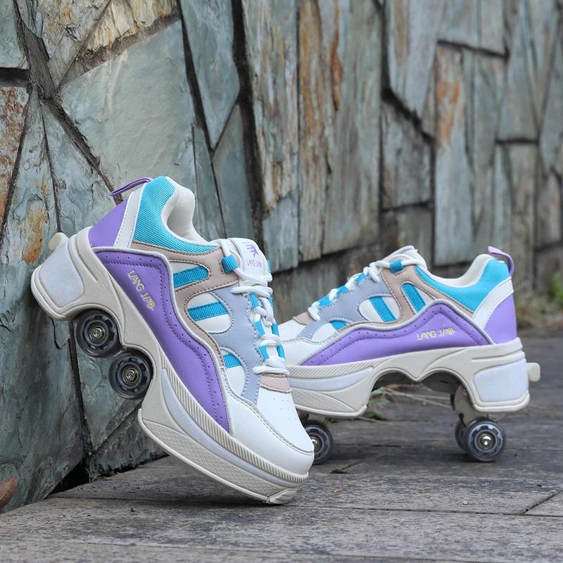 Kolečkové tenisky unisex barevné boty na kolečkách nejen pro děti Barva: Fialová, Velikost: 35
