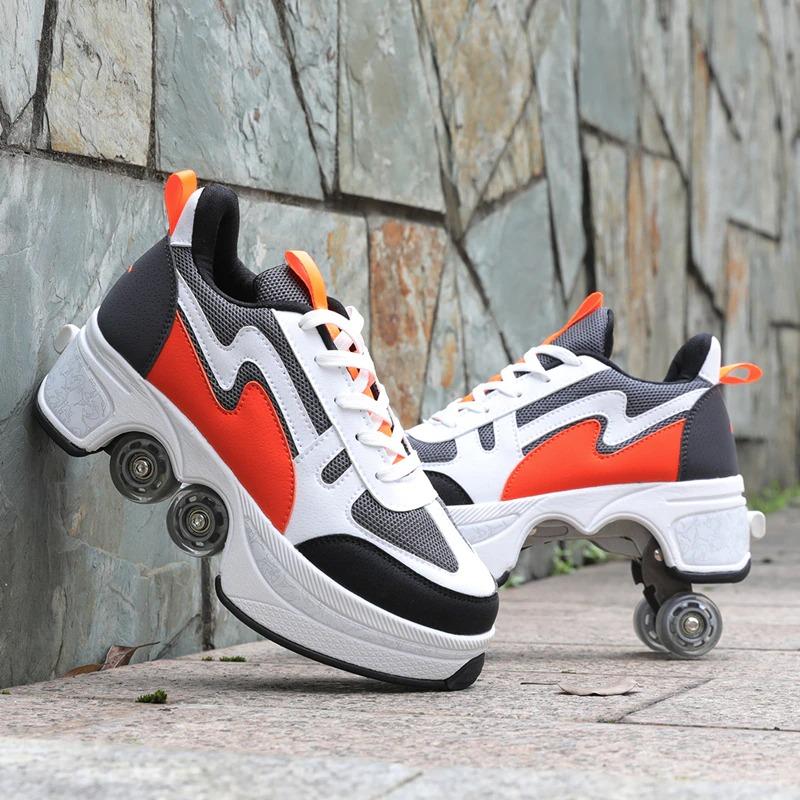 Kolečkové tenisky unisex barevné boty na kolečkách nejen pro děti Barva: Černá, Velikost: 36