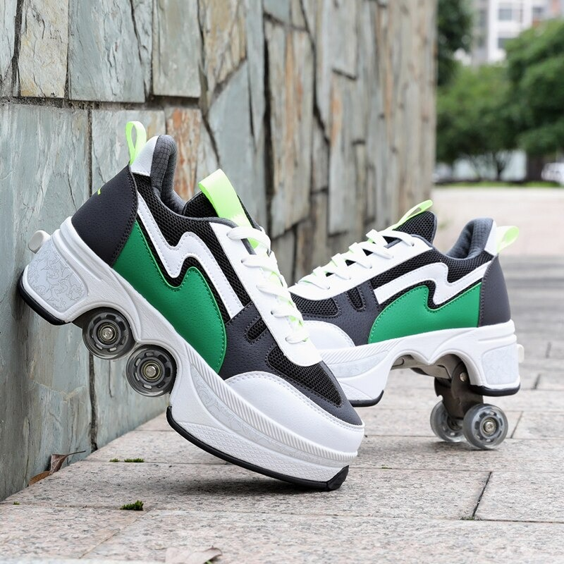 Kolečkové tenisky unisex barevné boty na kolečkách nejen pro děti Barva: Zelená, Velikost: 36