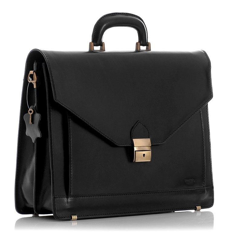 Mazzini Business Černá kožená aktovka business pánská taška na notebook MARTINO Barva: Černá, Přezka: Zlatá