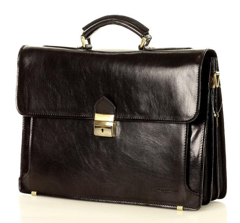 Mazzini Business Pánská kožená aktovka / taška MARCO MAZZINI handmade - ROBERTO Classic Barva: Černá