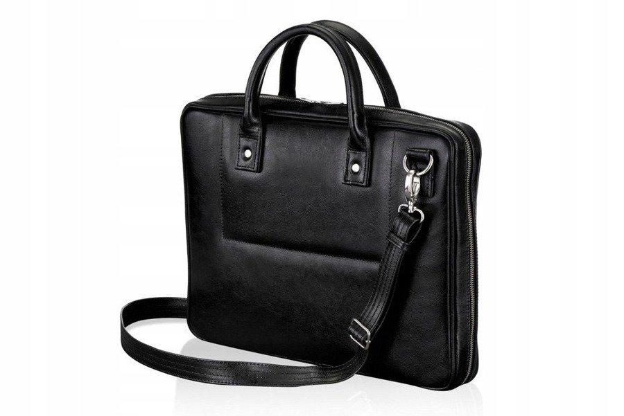 business office taška z pravé kůže, Rovicky, pracovní taška na notebook Barva: Černá