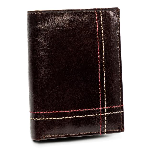 Kožená pánská peněženka prošívaná peněženka na karty Always Wild Barva: Hnědá