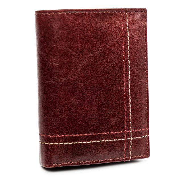 Kožená pánská peněženka prošívaná peněženka na karty Always Wild Barva: Bordová