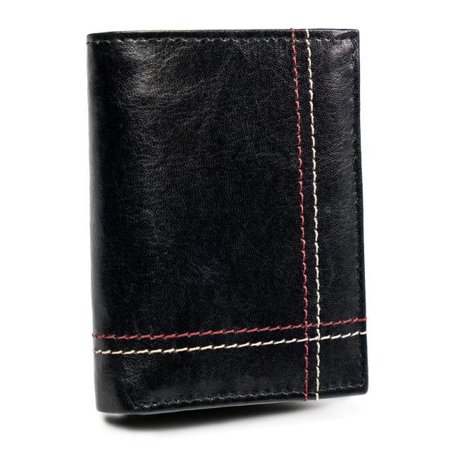 Kožená pánská peněženka prošívaná peněženka na karty Always Wild Barva: Černá
