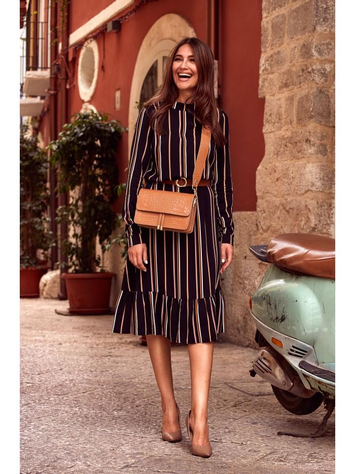 Pruhované midi šaty s volánem a rolákem Style S182 Barva: Černá, Velikost: S