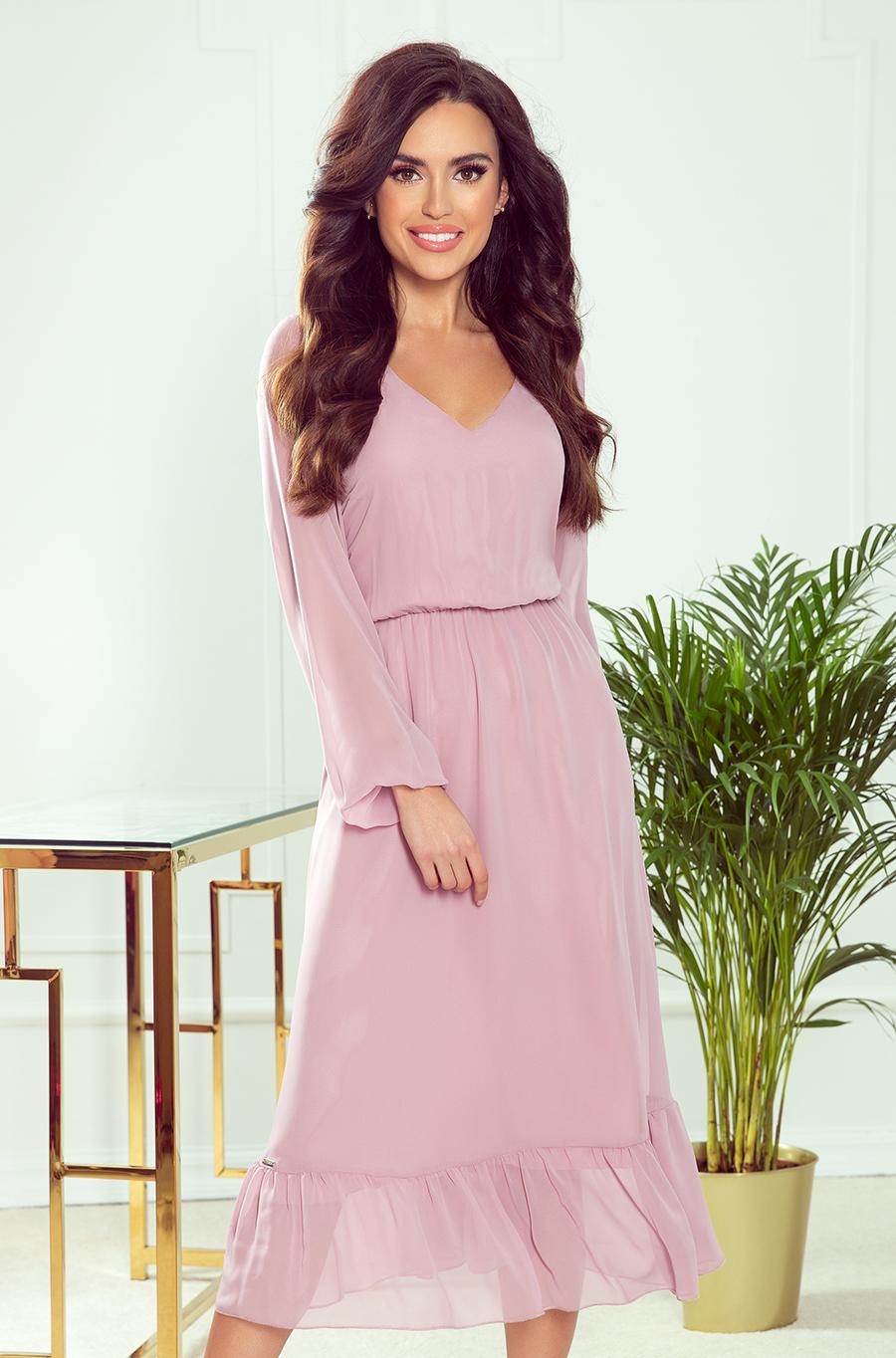 NUMOCO Šifónové midi šaty s výstřihem a volánkem 304-3 Barva: Pudrová, Velikost: S