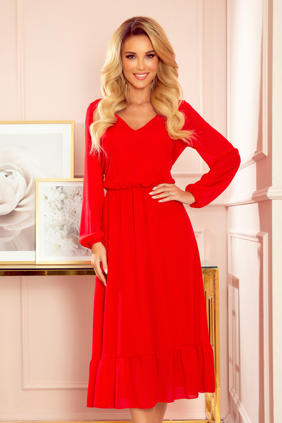 NUMOCO Šifónové midi šaty s výstřihem a volánkem 304-3 Barva: Červená, Velikost: S