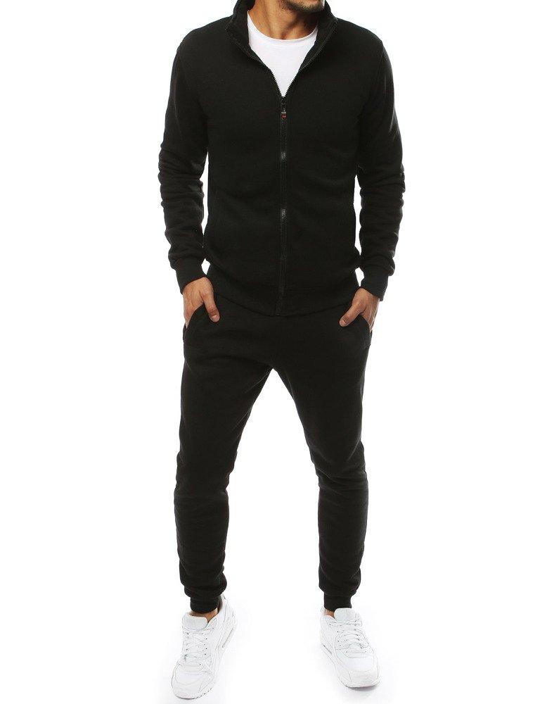 Dstreet Tepláková souprava svetr na zip bez kapuce + jogger tepláky Barva: Černá, Velikost: M