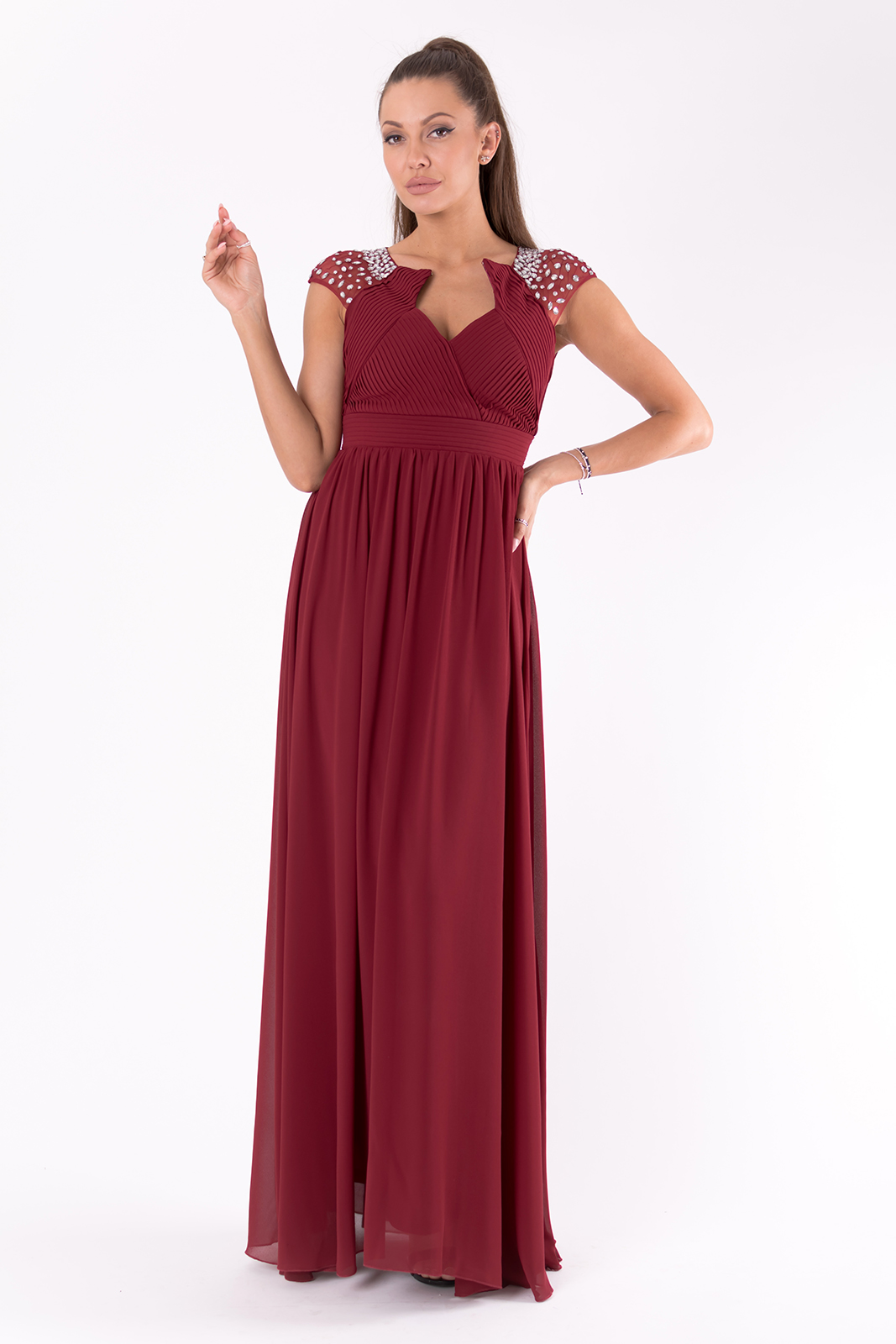 PINK BOOM Večerní šaty s holými zády a třpytivými kamínky plesové šaty Barva: Vínová, Velikost: S