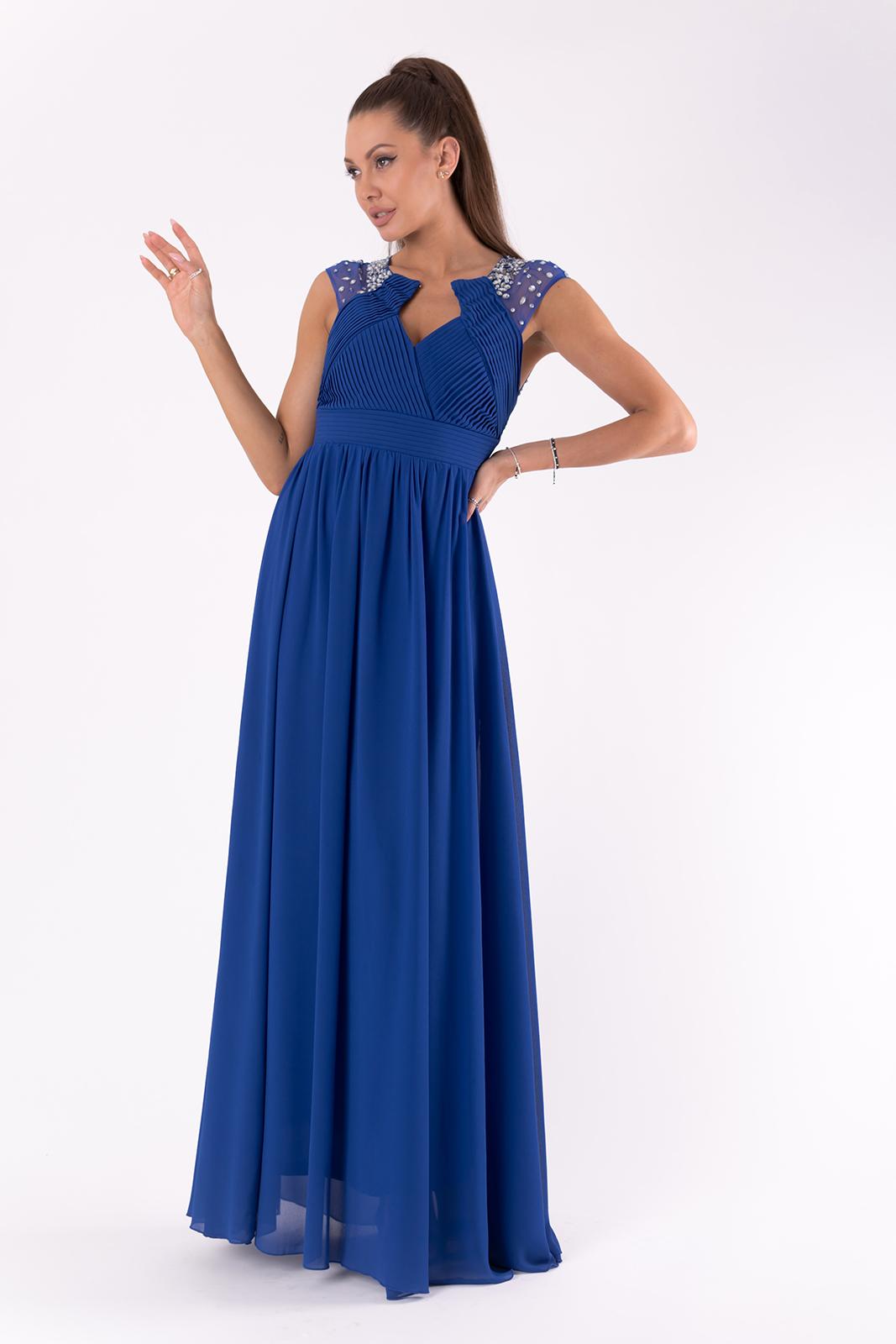 PINK BOOM Večerní šaty s holými zády a třpytivými kamínky plesové šaty Barva: Modrá, Velikost: M