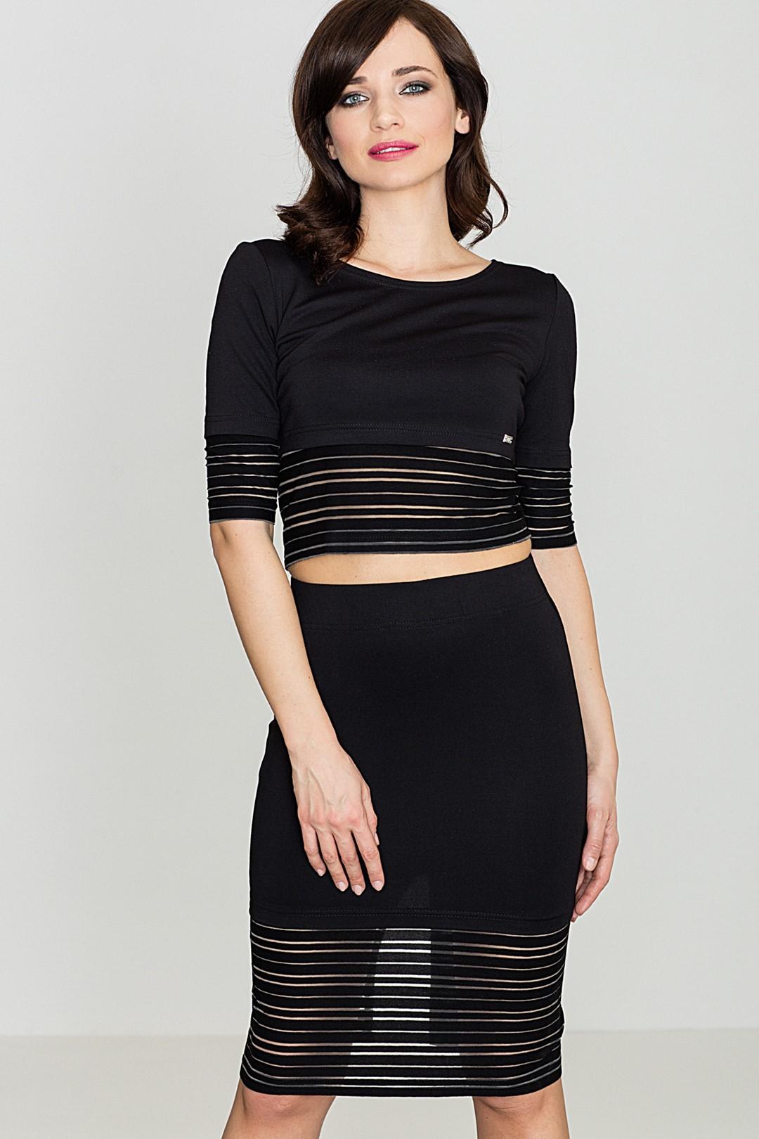 Stylový set halenka + midi sukně K314 LENITIF Barva: Černá, Velikost: L