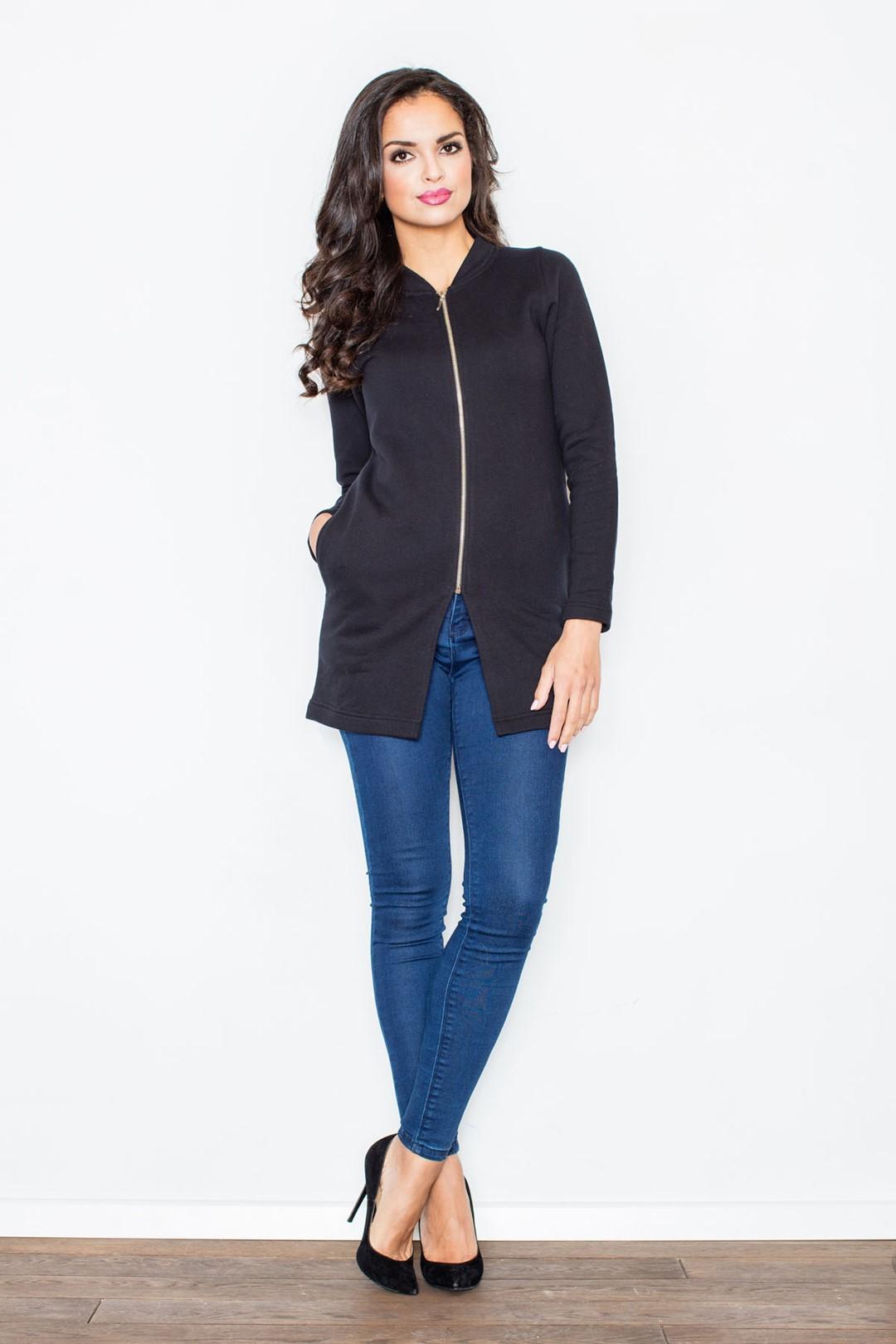 Dámský lehký kabátek na zip M336 FIGL Barva: Černá, Velikost: L